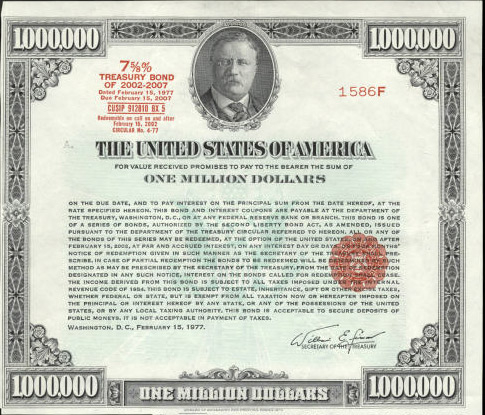 One million US Treasury Bond